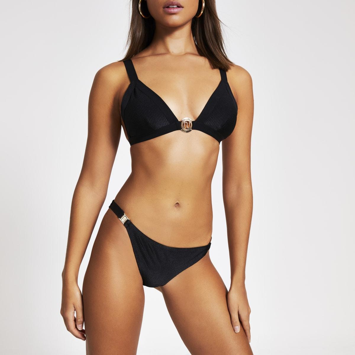 Black ribbed RI triangle bikini top