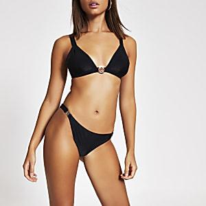 Bas de bikini RI taille basse noir avec clip sur les côtés