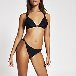 Zwart RI bikini broekje met lage taille en clip opzij