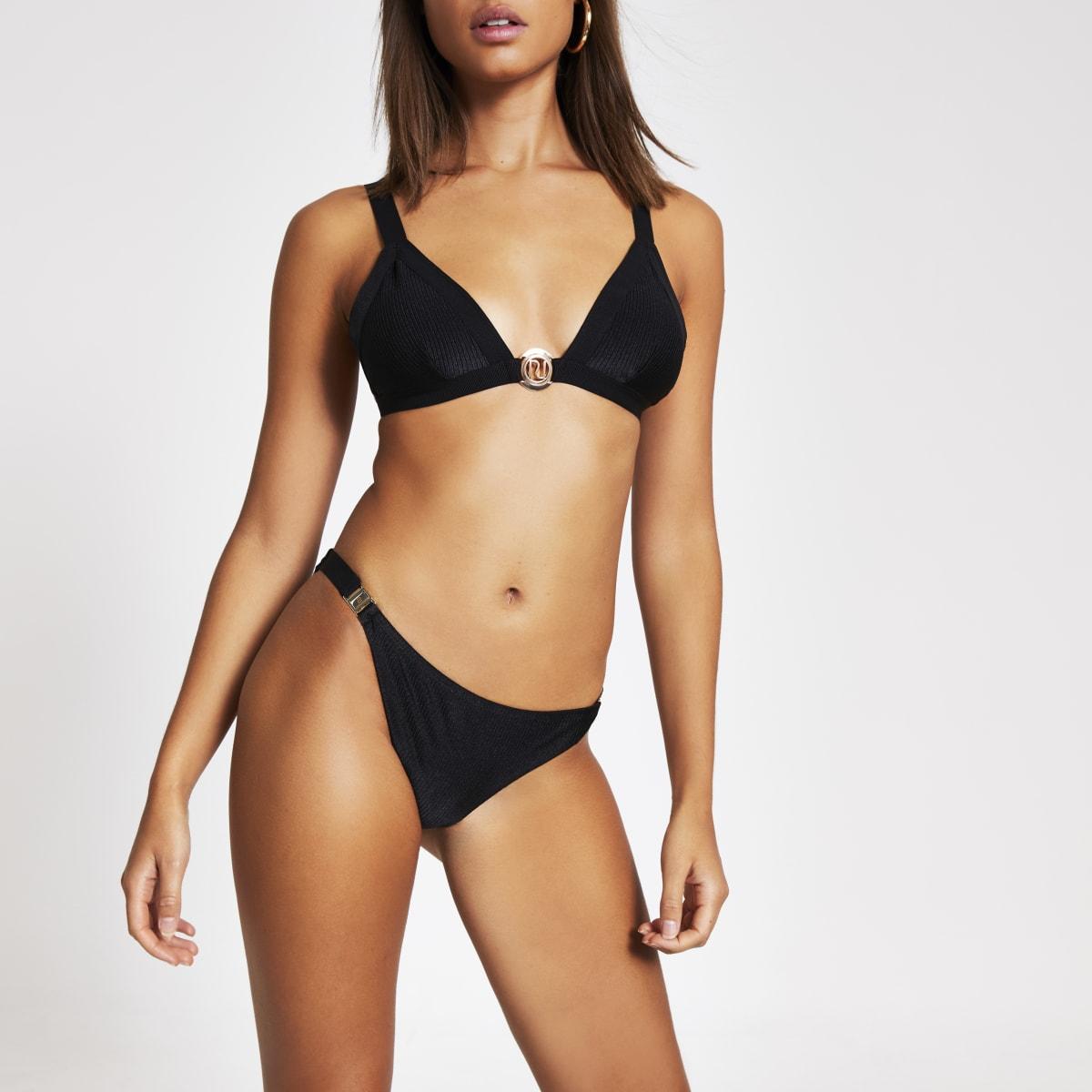 Black RI clip side low rise bikini bottoms