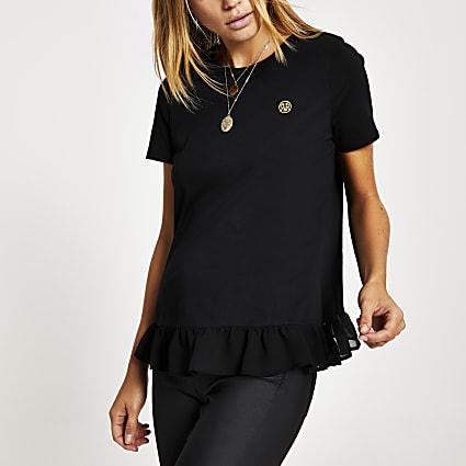 Black lace peplum hem T-shirt