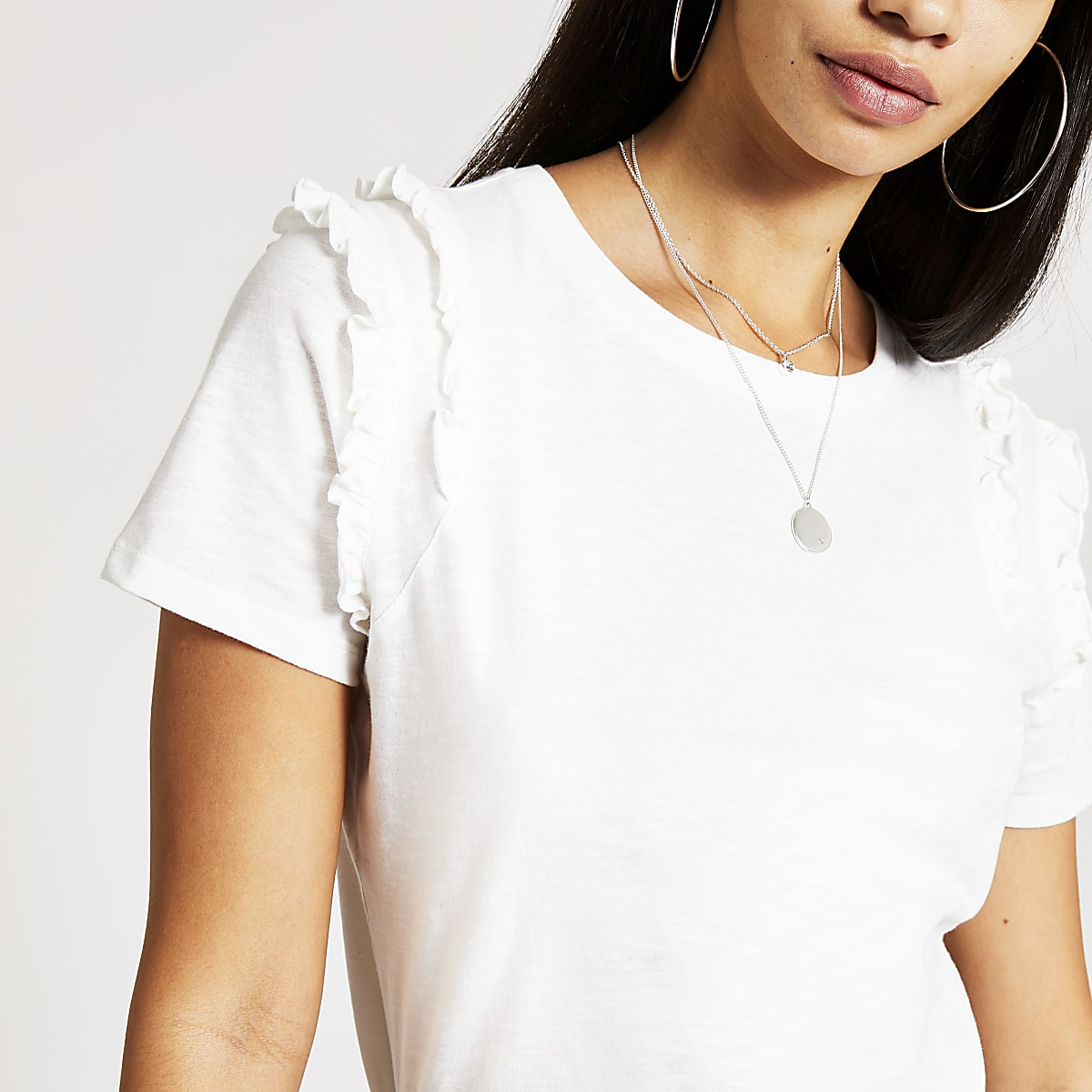 White tiered frill shoulder T-shirt