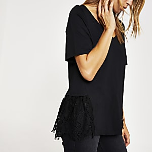 Black lace peplum V neck T-shirt