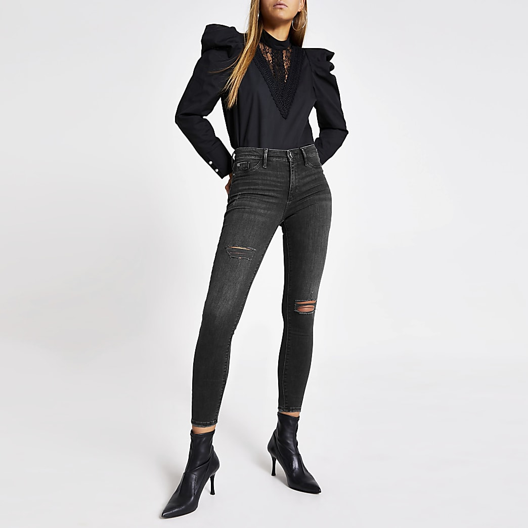 Black Molly ripped mid rise jeggings