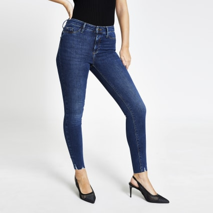 Dark blue Molly mid rise fray hem jeggings