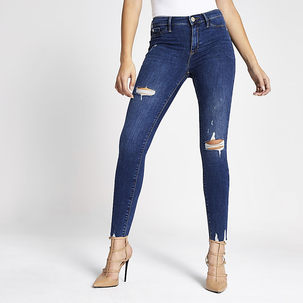 Molly - Donkerblauwe ripped jegging met middelhoge taille