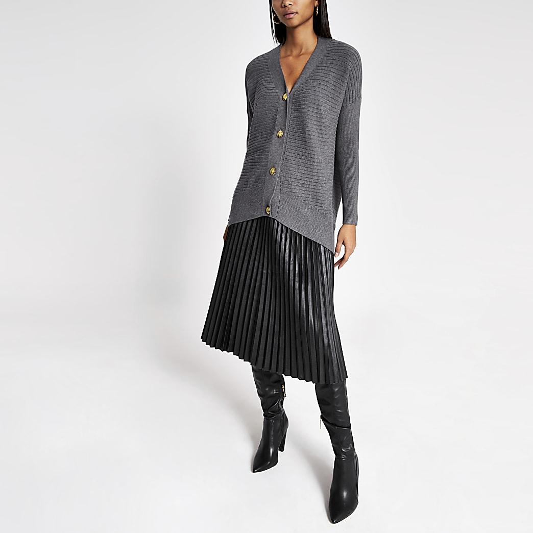 Grey rib knitted oversized cardigan