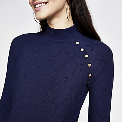 Navy button high neck quilted jumper