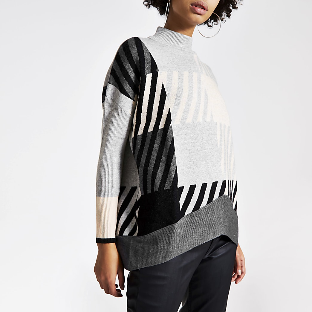 Grey check long sleeve oversized jumper