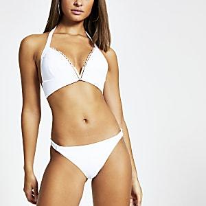 Geripptes Triangel-Bikinioberteil mit V-Ausschnitt in Weiß