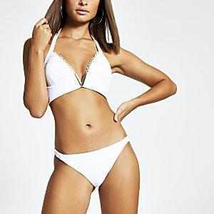 Wit geribbeld bikinibroekje met shirred kanten