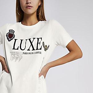 T-shirt crème coupe boyfriend à imprimé « Luxe »