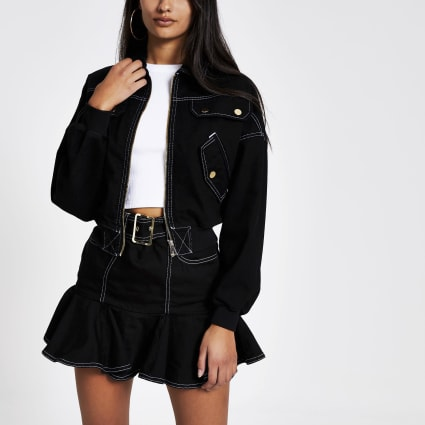 Black contrast stitch cropped bomber jacket