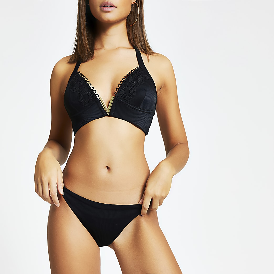 Black ribbed elasticated side bikini bottoms