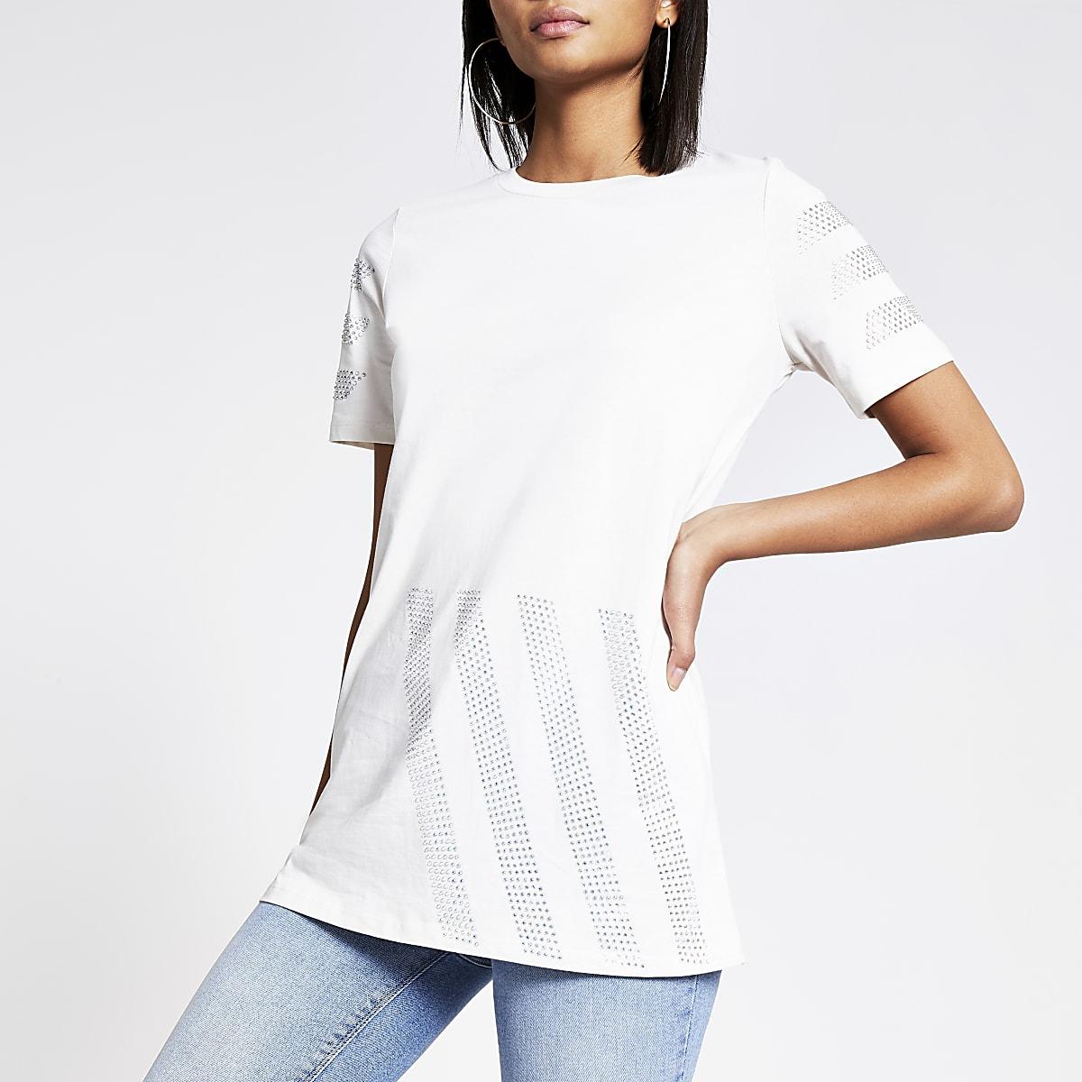 Crème T-shirt met siersteentjes