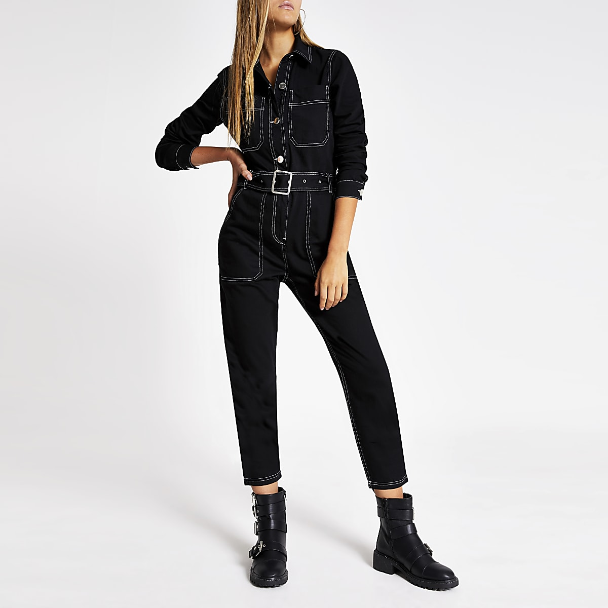 Black contrast stitch denim belted jumpsuit