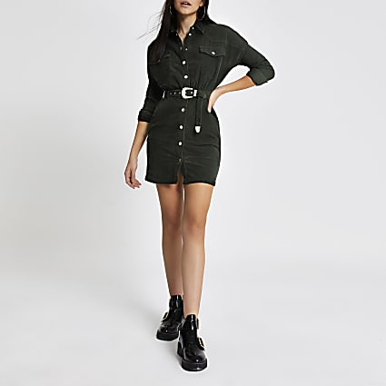 Dark green corduroy belted shirt dress