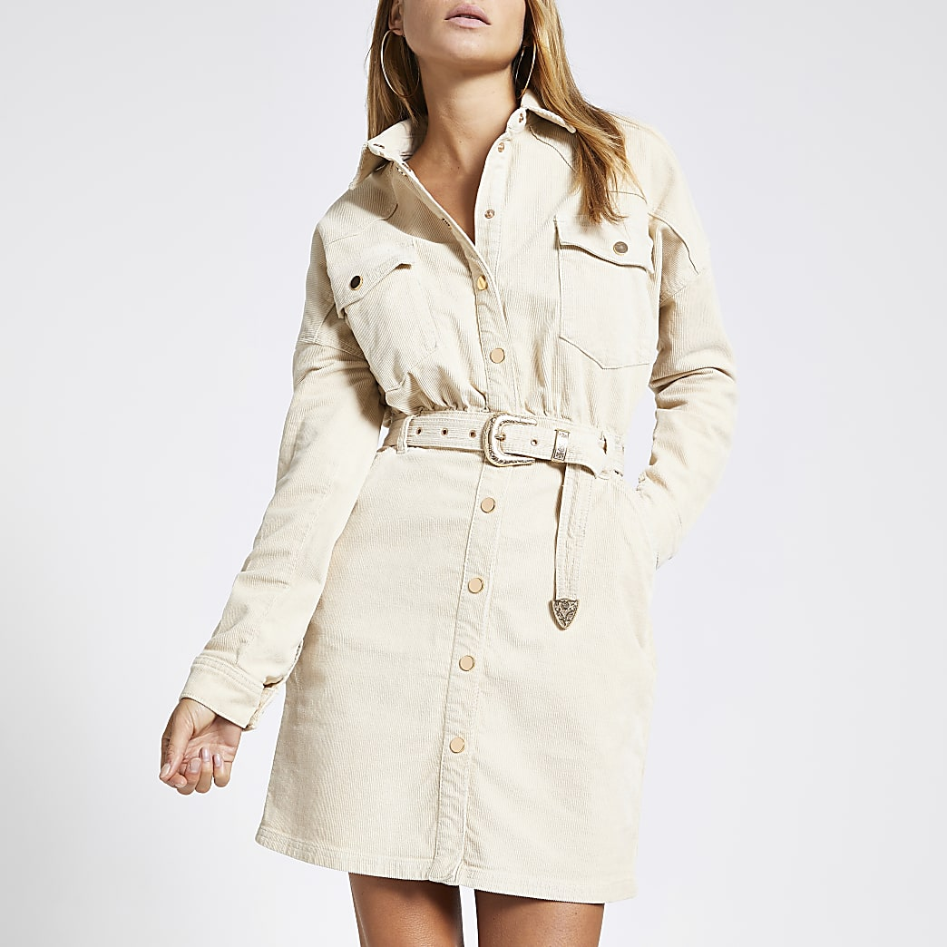 Cream corduroy belted shirt dress