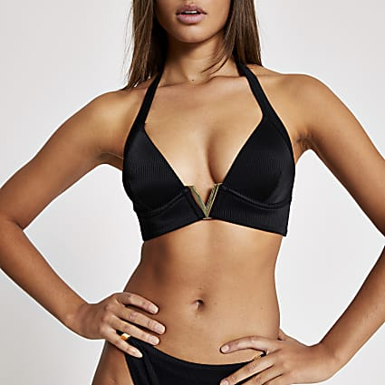Black V triangle bikini top