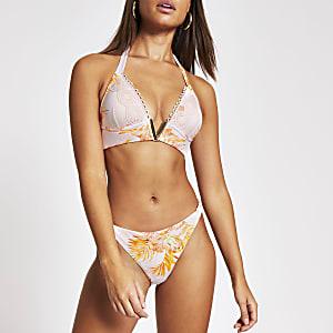 Bas de bikini échancré à fleurs rose