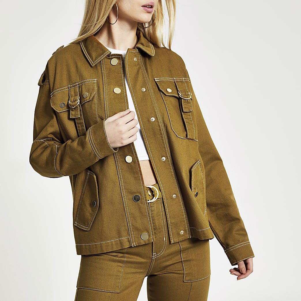 Brown utility denim army jacket