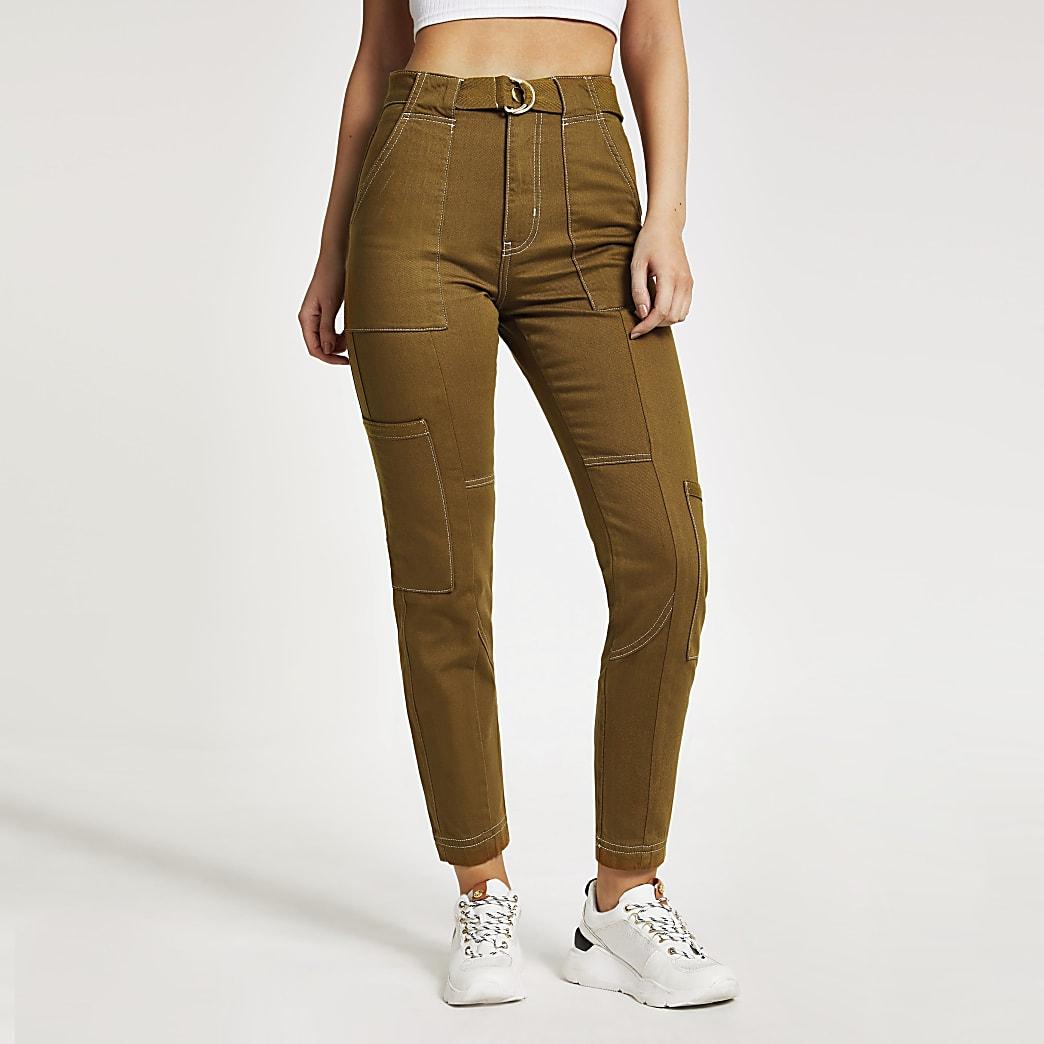 Pantalon cargo marron avec ceintureà anneau en D