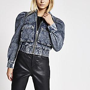 Kurze Jeansjacke in Blau mit Puffärmeln