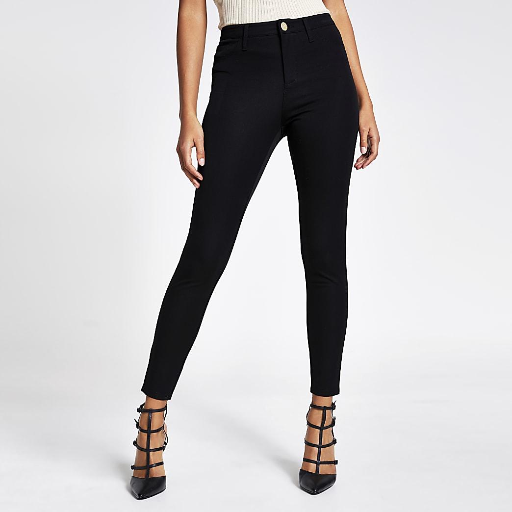 Molly - Zwarte skinny-broek van keperstof