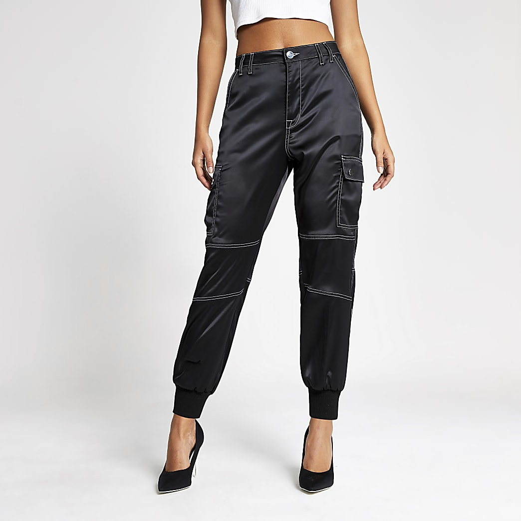 Black contrast stitch satin trousers