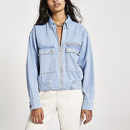 Light blue denim utility bomber jacket