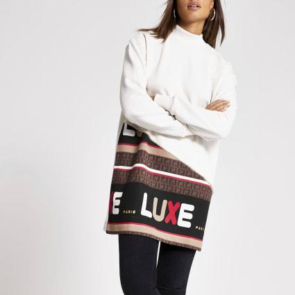 Cream 'Luxe' block printed sweatshirt dress