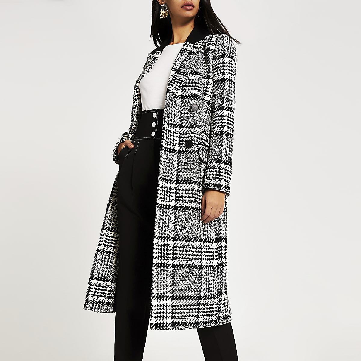 Zwarte geruite lange double-breasted jas