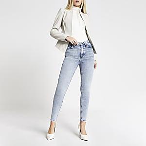 Hailey – Blaue Jeans mit hohem Bund im Acid-Look