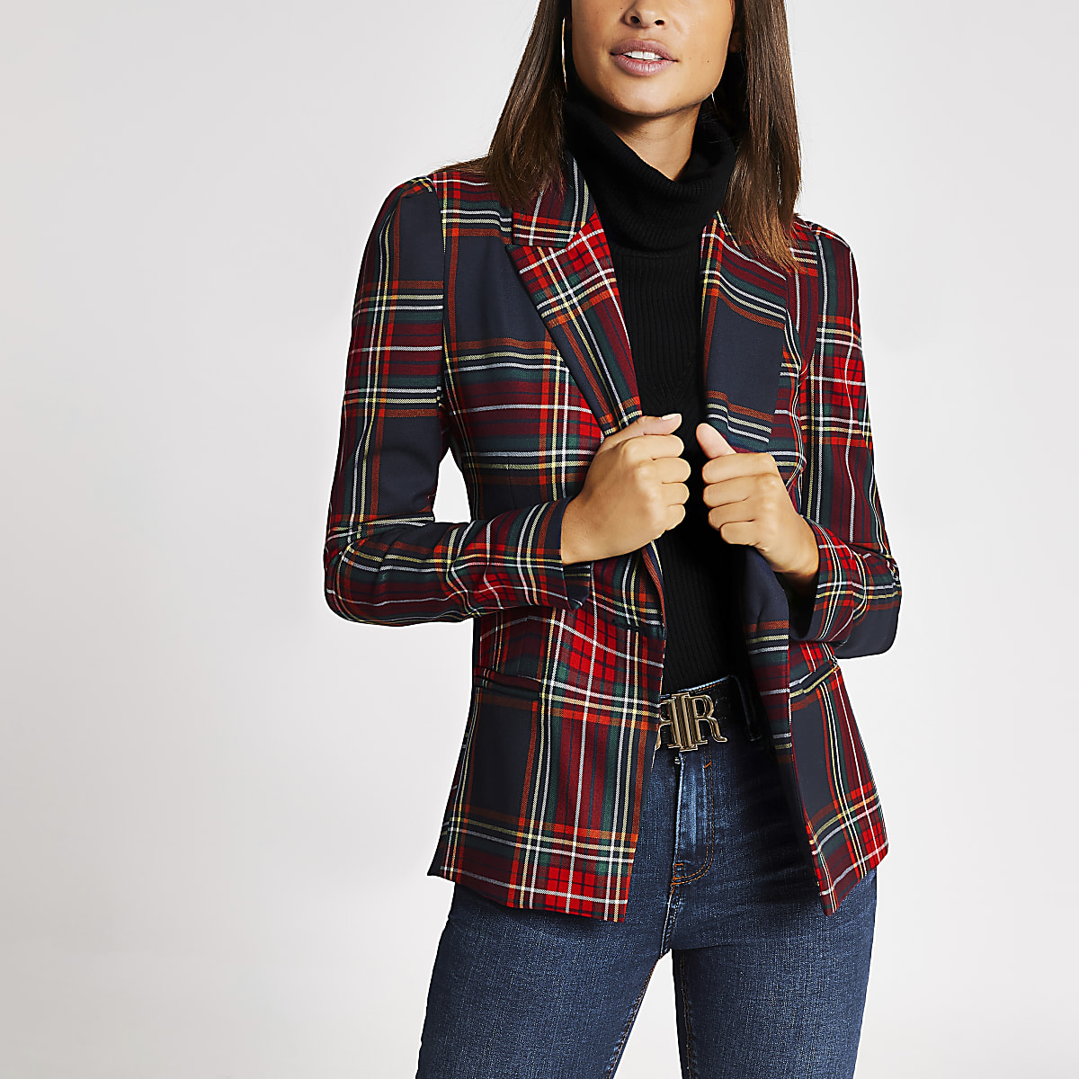Navy check long puff sleeve blazer