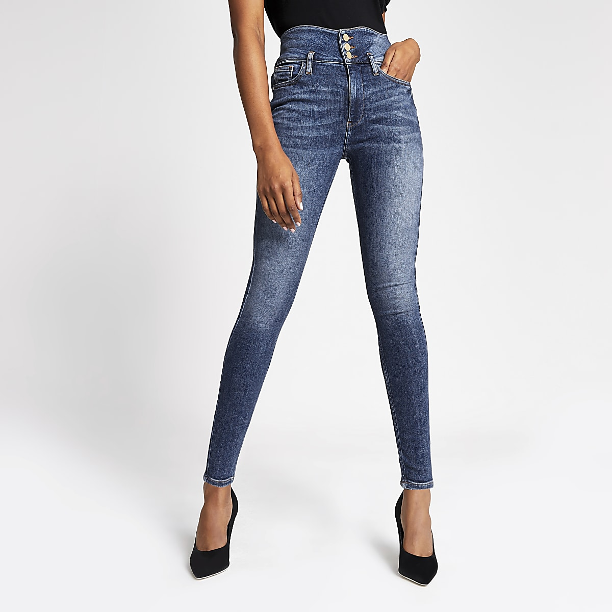 Hailey - Middenblauwe denim jeans met hoge taille