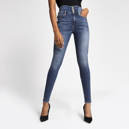 Mid blue Hailey high rise denim jeans