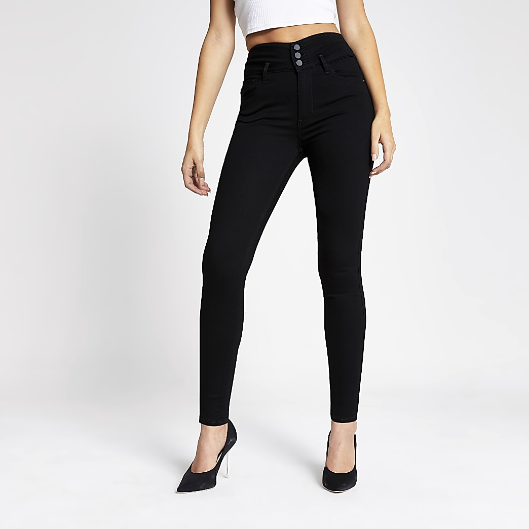 Hailey - Jean skinny noir taille haute avec bouton