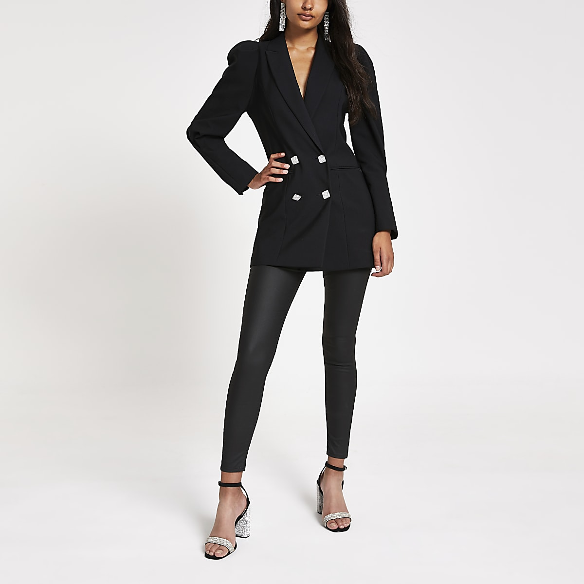 Black puff shoulder longline jacket