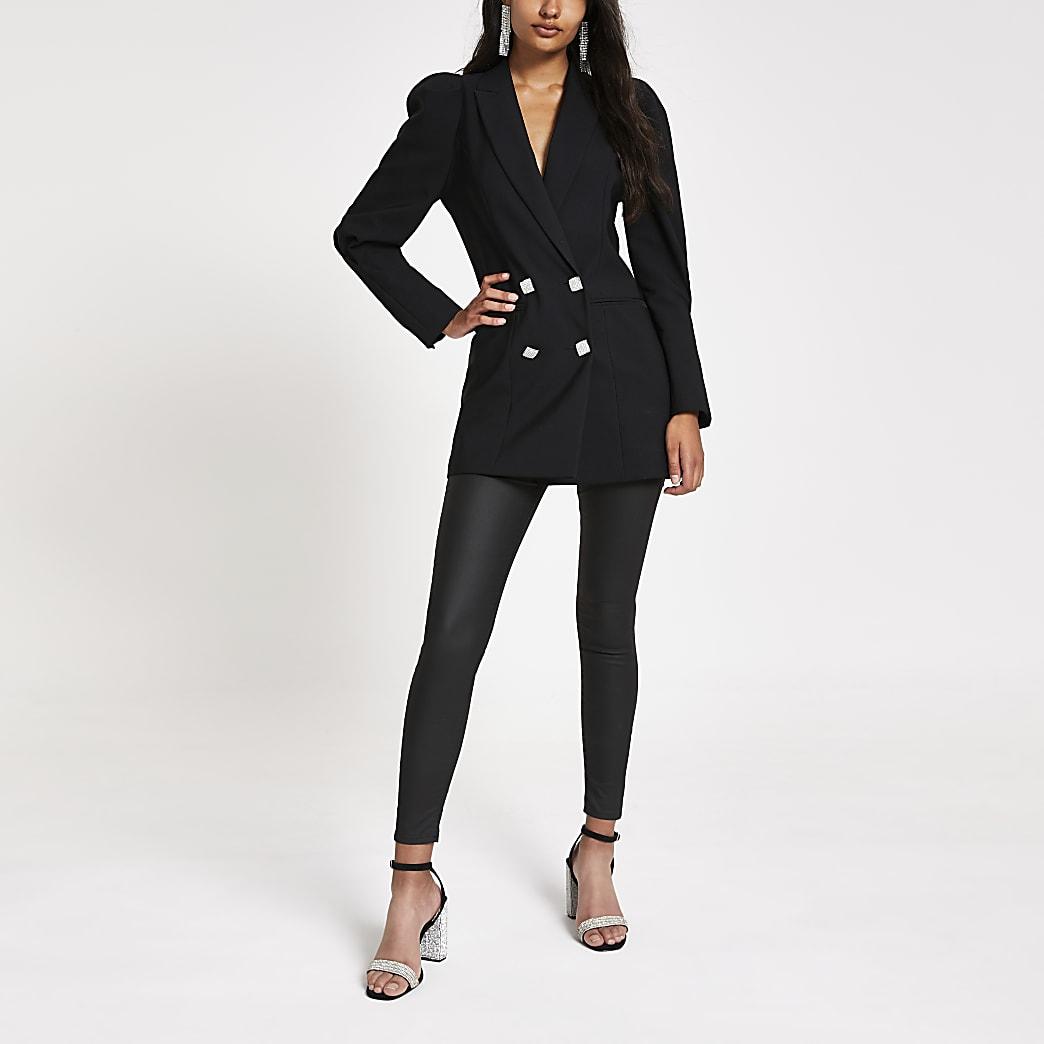 Veste longue noire à épaules bouffantes