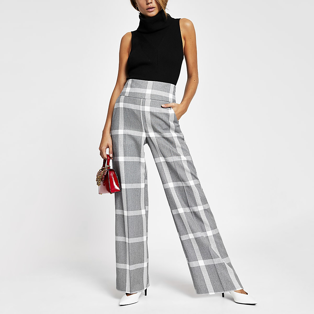 Grey check print wide leg trousers