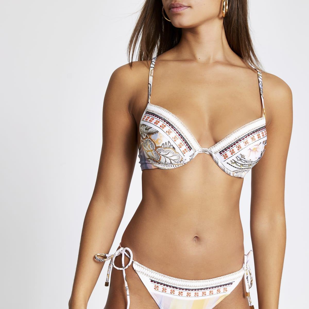 Cream paisley embellished plunge bikini top