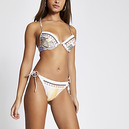 Cream embellished tie side bikini bottoms