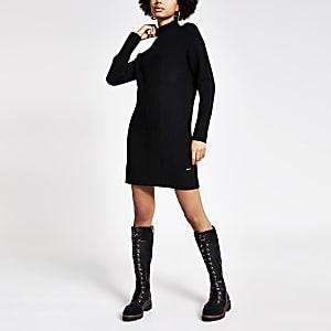 Schwarzer Longline-Pullover aus Strick mit hohem Kragen