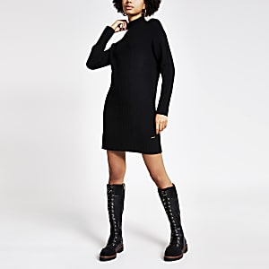 Black high neck longline knitted tunic jumper