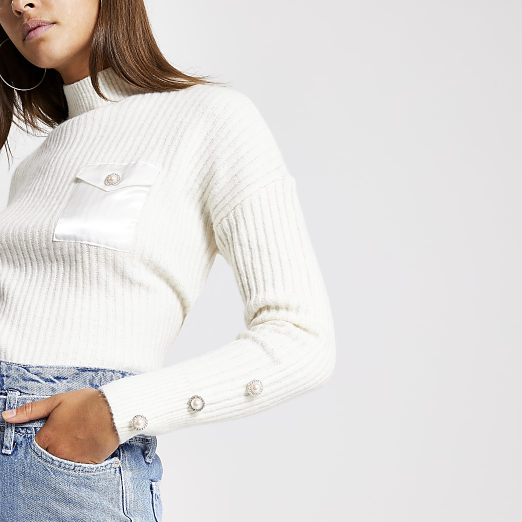 Cream satin pocket crop knitted jumper