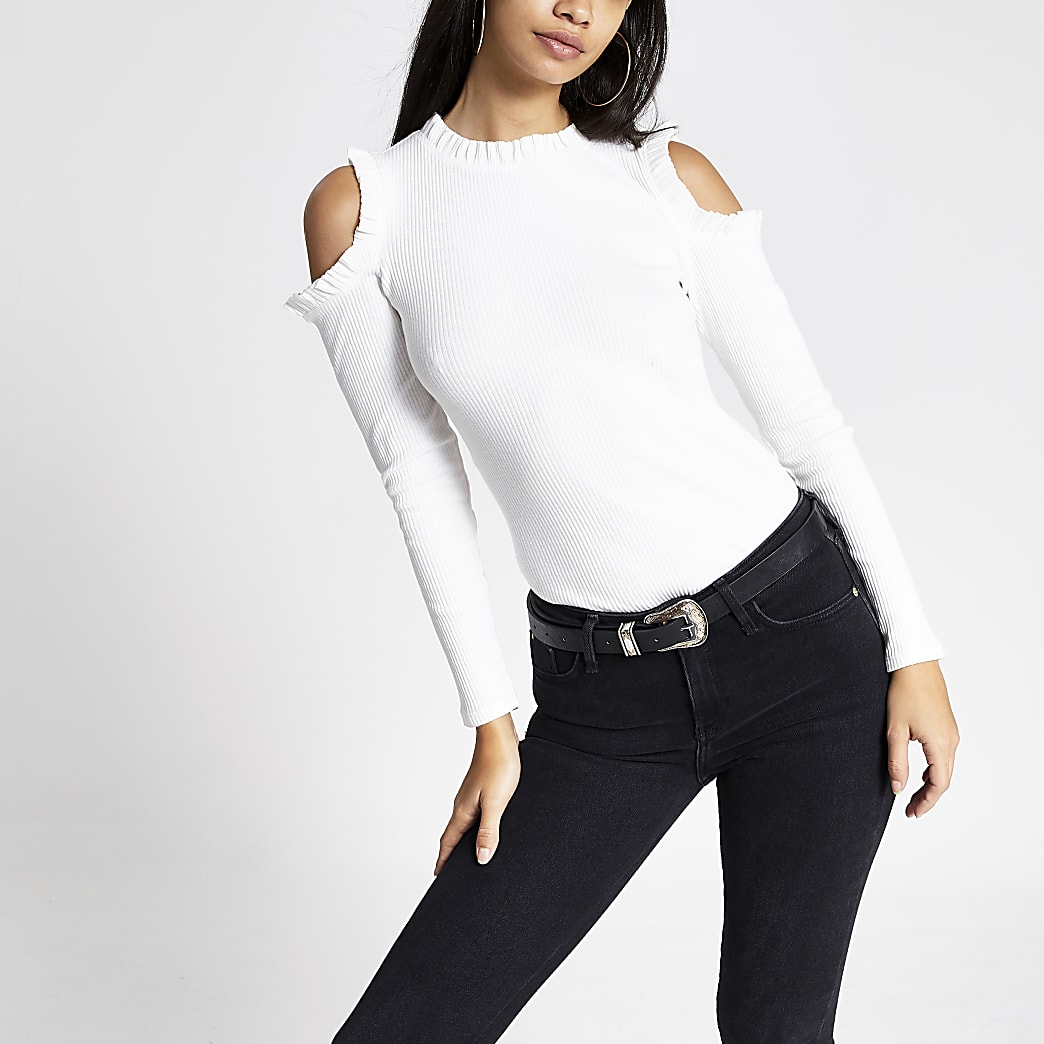 White long sleeve cold shoulder frill top