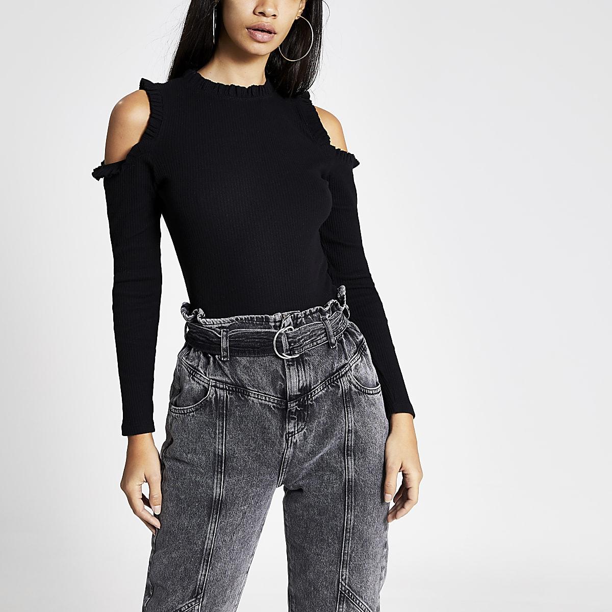 Black long sleeve cold shoulder frill top
