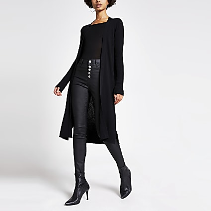 Black longline rib knitted cardigan