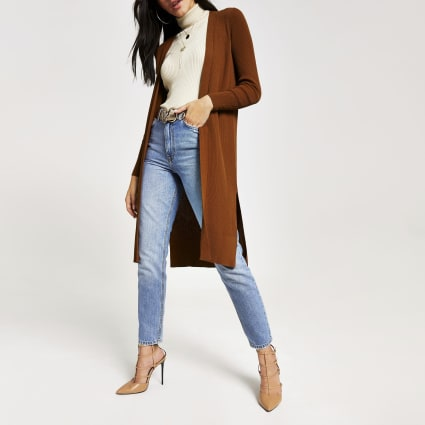 Brown longline rib knitted cardigan