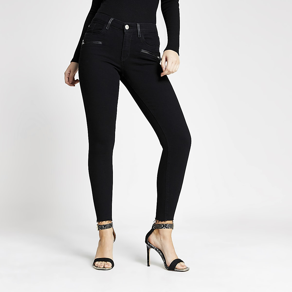 Amelie - Zwarte superskinny jeans met broekzak met ritssluiting